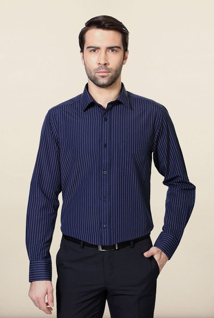 Peter England Navy Striped Formal Shirt