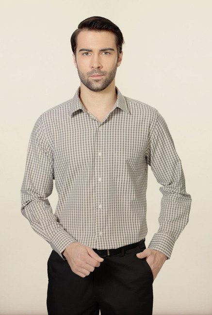 Peter England Brown Checks Formal Shirt