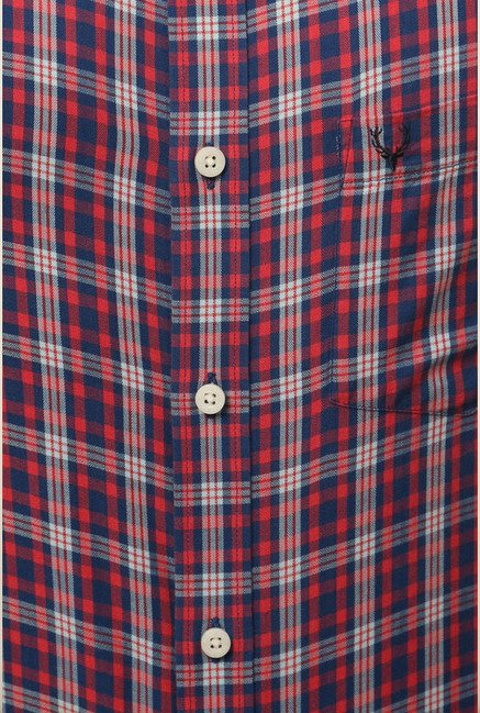 Allen Solly Red Checks Formal Shirt