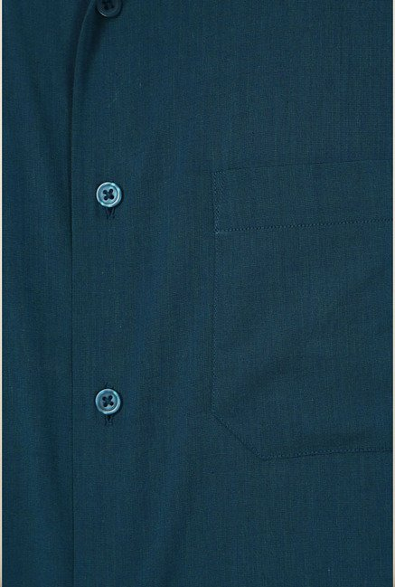 Peter England Teal Solid Formal Shirt