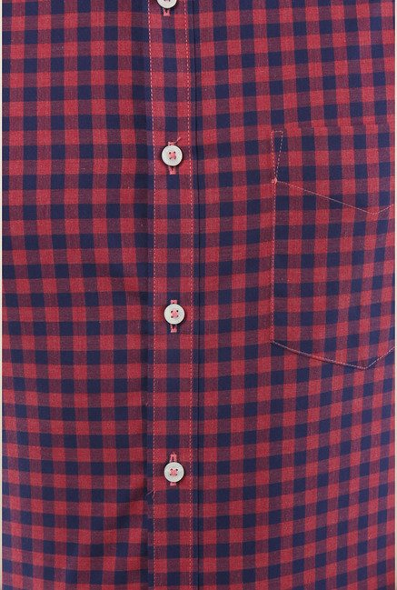 Van Heusen Red Checks Formal Shirt