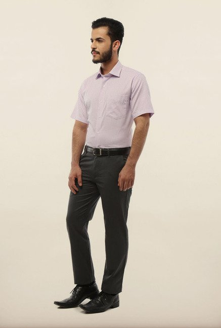 Van Heusen Purple Checks Formal Shirt