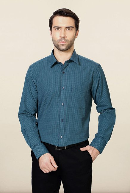 Peter England Teal Blue Checks Formal Shirt