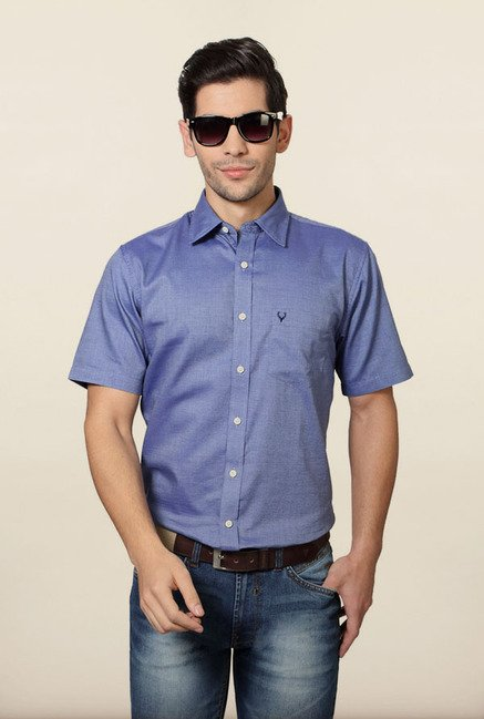 Allen Solly Blue Solid Formal Shirt