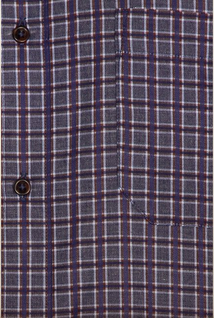 Peter England Greyish Blue Checks Formal Shirt