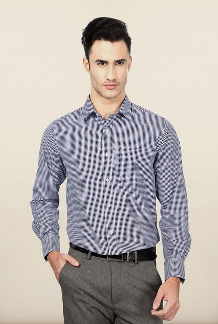 Peter England Navy Checks Formal Shirt