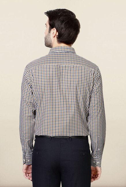 Peter England Navy & Brown Checks Formal Shirt
