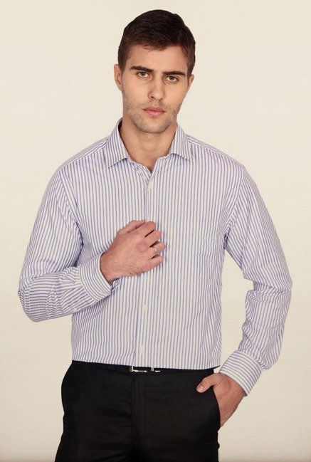 Peter England White Striped Formal Shirt