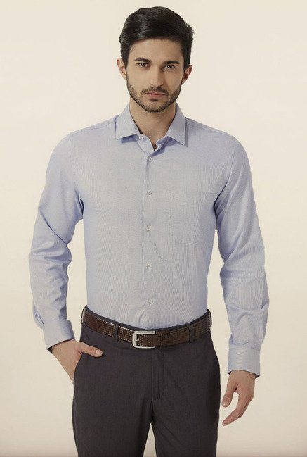 Peter England Blue Jacquard Formal Shirt