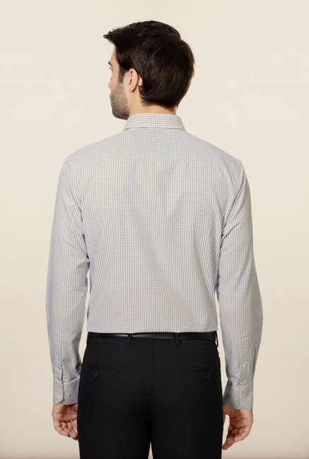 Peter England White & Blue Checks Formal Shirt