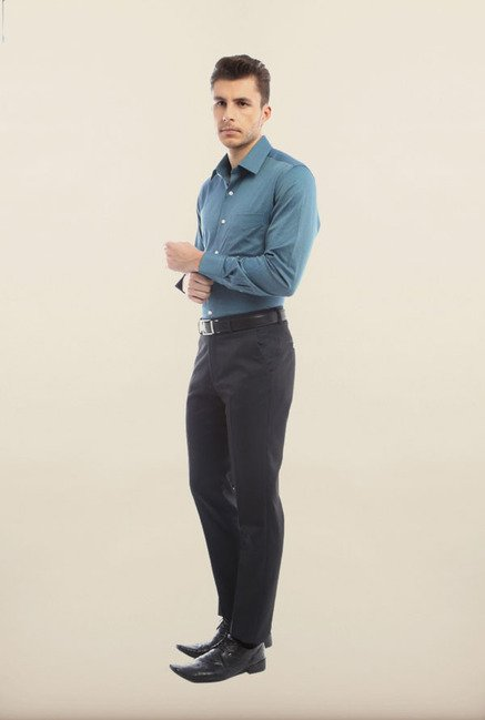 Peter England Teal Formal Shirt