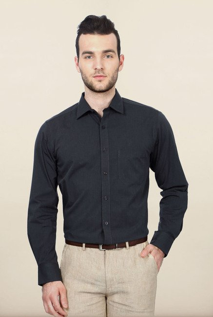 Peter England Dark Grey Cotton Formal Shirt