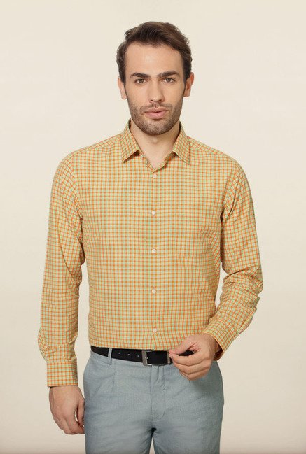 Peter England Orange Checks Formal Shirt