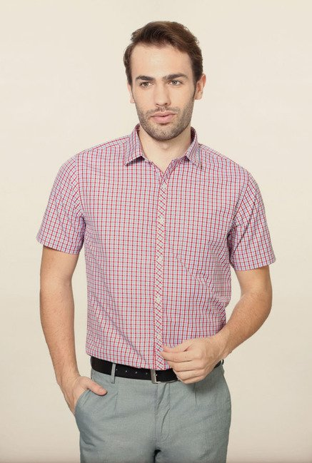 Peter England Pink Checks Formal Shirt