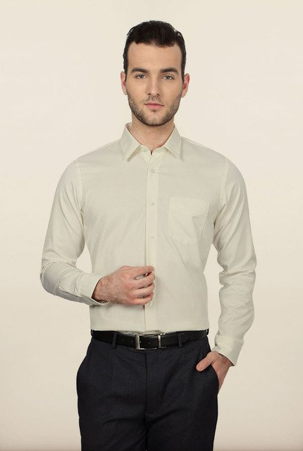 University of Oxford Cream Solid Formal Shirt