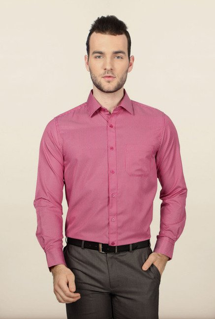 Peter England Pink Striped Formal Shirt