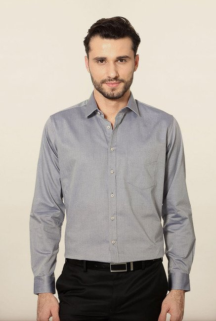 Van Heusen Grey Jacquard Formal Shirt