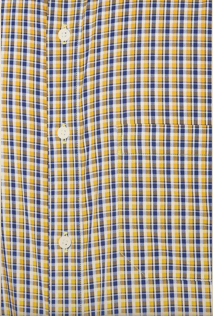 Peter England Yellow & Blue Checks Formal Shirt