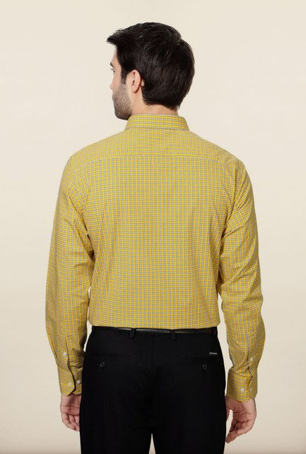 Peter England Yellow Checks Formal Shirt