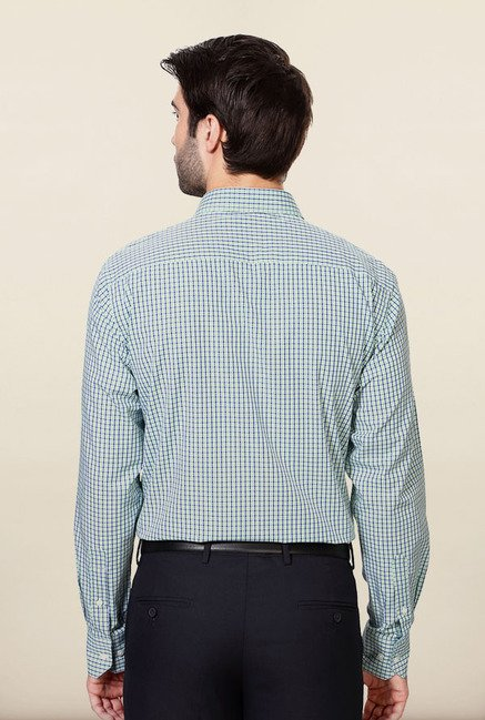 Peter England Green & White Checks Formal Shirt