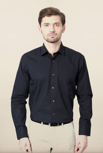 Van Heusen Black Printed Formal Shirt