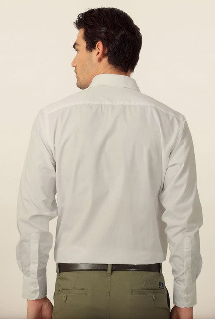 Peter England White Solid Formal Shirt