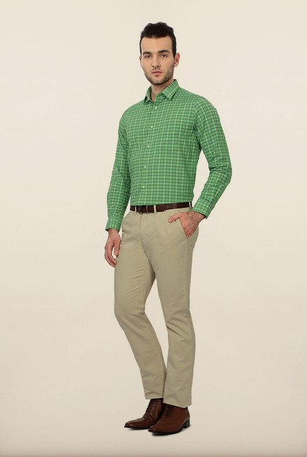 Peter England Green Checks Formal Shirt