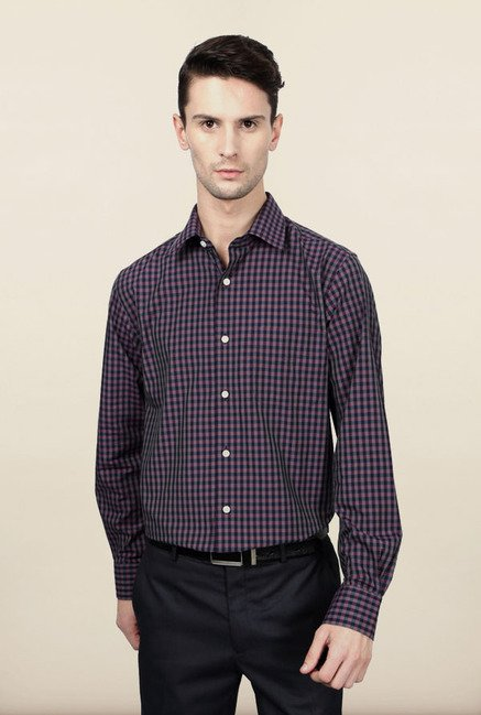Peter England Pink & Black Checks Formal Shirt