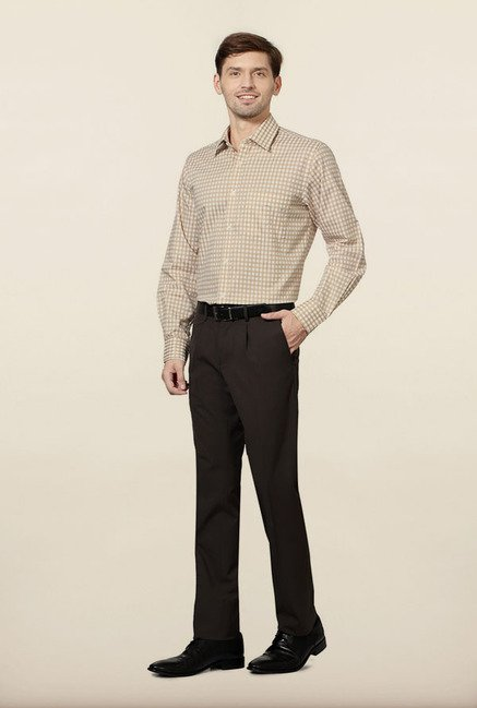 Allen Solly Beige Checks Formal Shirt