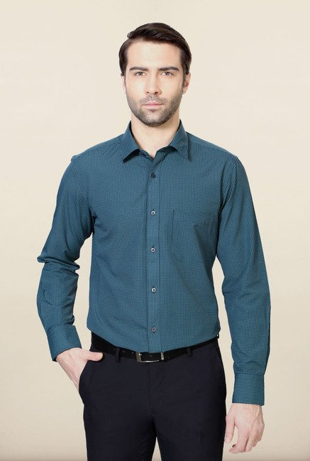 Peter England Teal Checks Formal Shirt