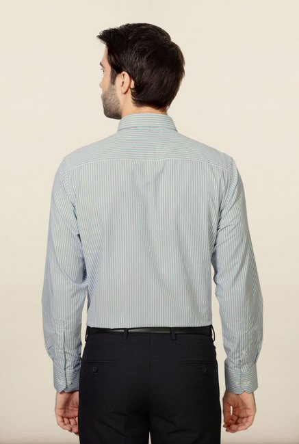 Peter England Blue Striped Formal Shirt
