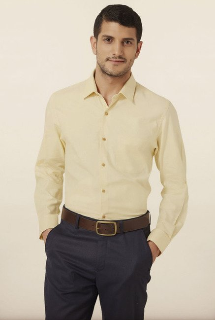 Peter England Yellow Formal Shirt