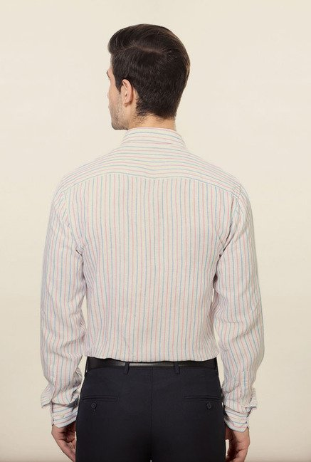 Allen Solly White Striped Formal Shirt