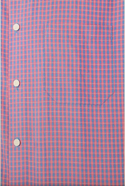 Peter England Pink & Blue Checks Formal Shirt