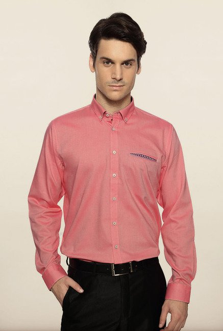 Van Heusen Pink Solid Formal Shirt