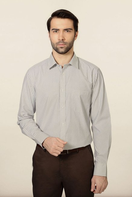 Peter England Grey Striped Formal Shirt