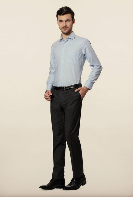 Van Heusen Blue Self Print Formal Shirt