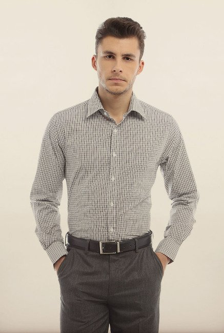 Peter England White & Black Formal Shirt