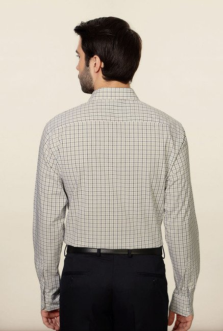 Peter England White Checks Formal Shirt