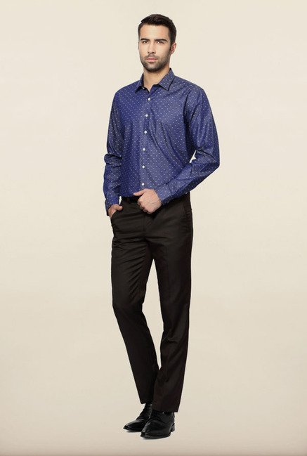 Van Heusen Blue Printed Formal Shirt