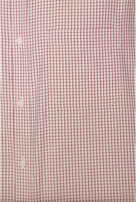 Peter England Maroon Checks Formal Shirt