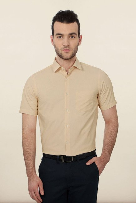Peter England Yellow Striped Formal Shirt