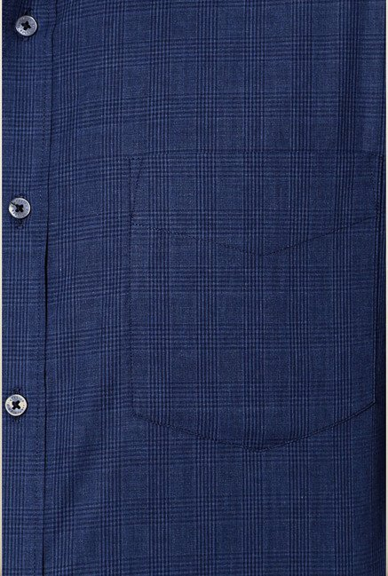 Van Heusen Navy Checks Formal Shirt