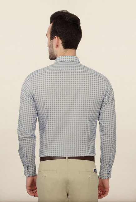Van Heusen Grey Checks Formal Shirt