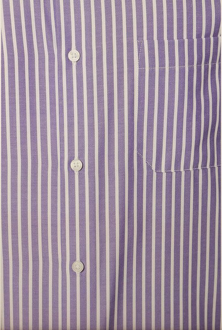 Peter England Purple Striped Formal Shirt