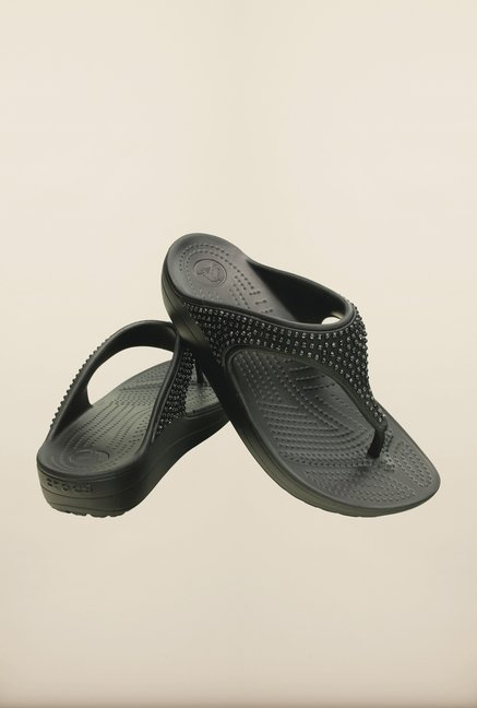 Crocs Sloane Diamante Black Flip Flops