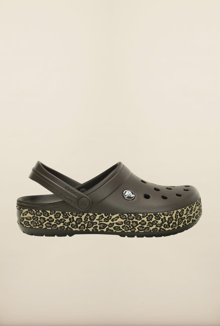Crocs Crocband Animal Print Espresso Clogs