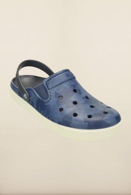 Crocs CitiLane Topographical Bijou Blue & White Clogs