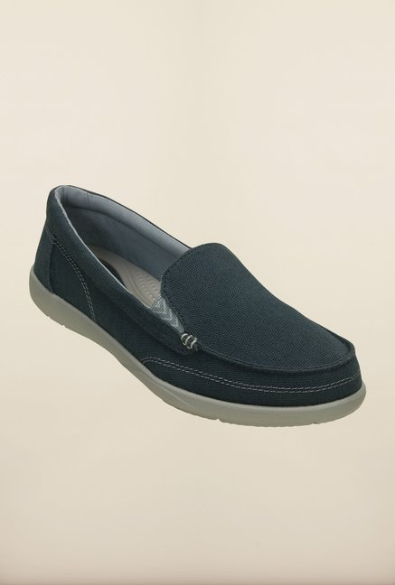 Crocs Walu II Canvas Navy & Silver Loafers