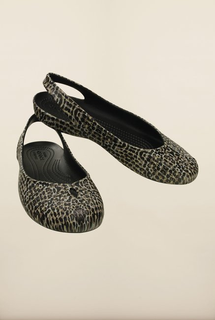 Crocs Olivia II Leopard Black Sling Back Shoes